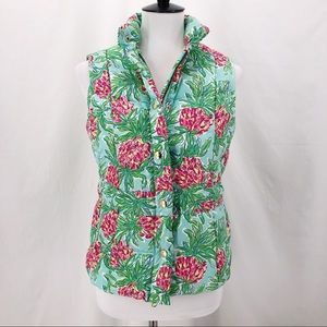 Lilly Pulitzer Pineapple Print Down Puffer Vest